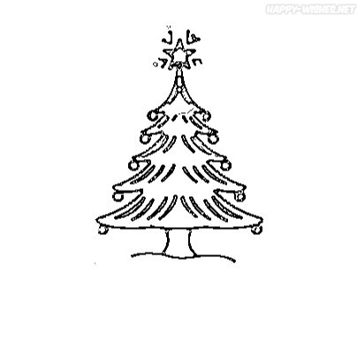 Christmas Tree Coloring Pages for color filling
