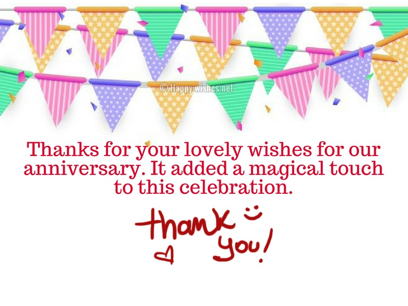 Thanks for your lovely wishes for our anniversary