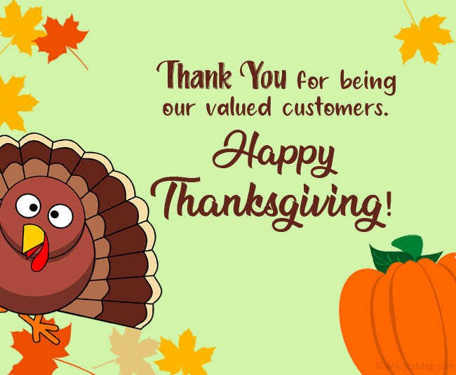 business thanksgiving message to customers