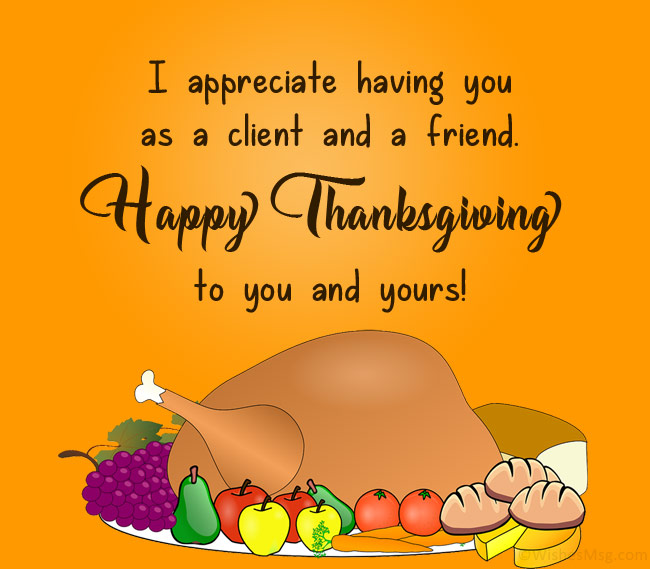 corporate thanksgiving message to clients