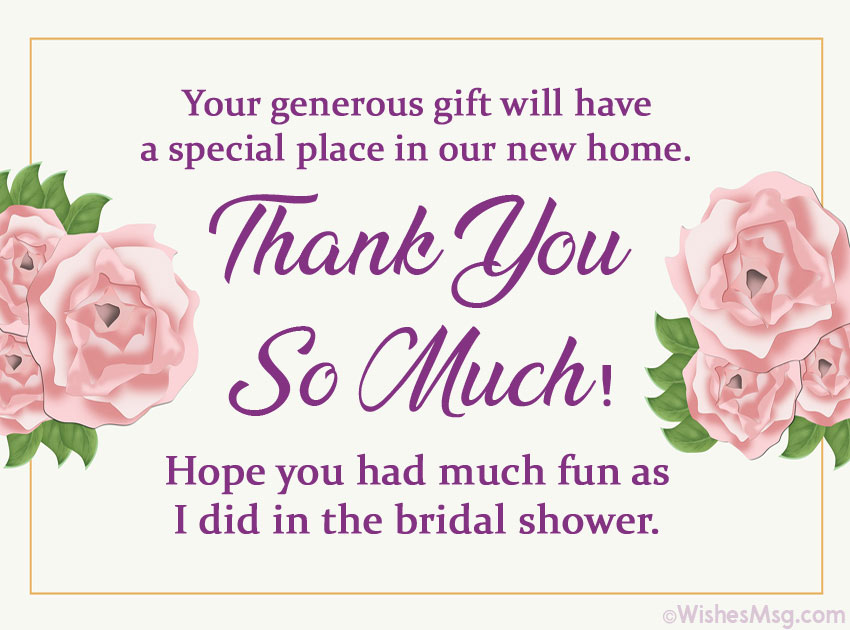 Thank You Messages for Bridal Shower Gift