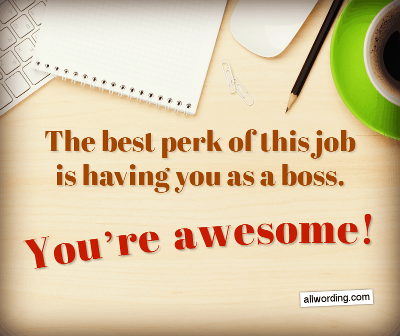 The best perk of this job is having you as a manager. You're awesome!