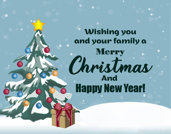 merry Christmas and happy new year wishes for friends and family