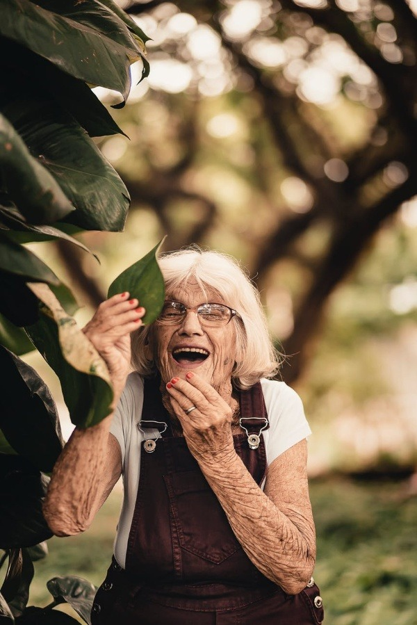 old woman laugh