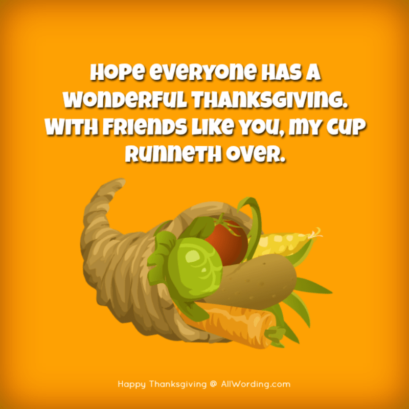 Hope everyone has a wonderful Thanksgiving. With friends like you, my cup runneth over.