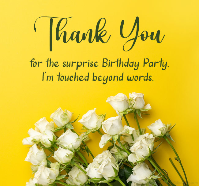 thank you for the surprise birthday party