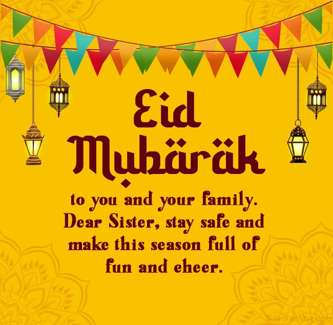eid mubarak wishes for sister and her family